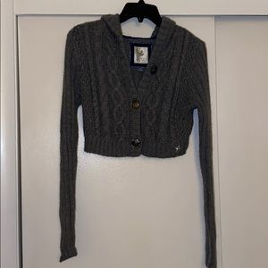 Arie grey knit cropped cardigan